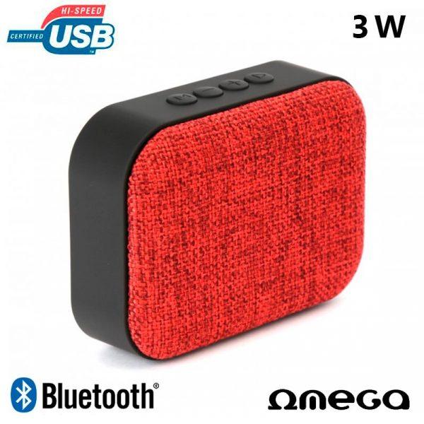 Altavoz Bluetooth Rectangular Omega Tela Rojo (3W) 1