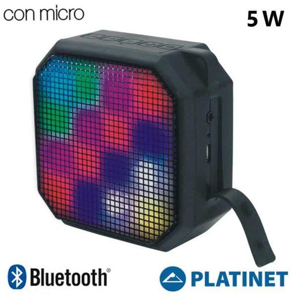 Altavoz Música Universal Bluetooth Marca Platinet LED Negro (5W) 1