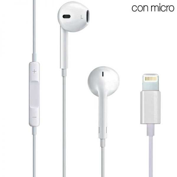 auriculares blancos stereo con micro iphone 7 8 x lightning bluetooth
