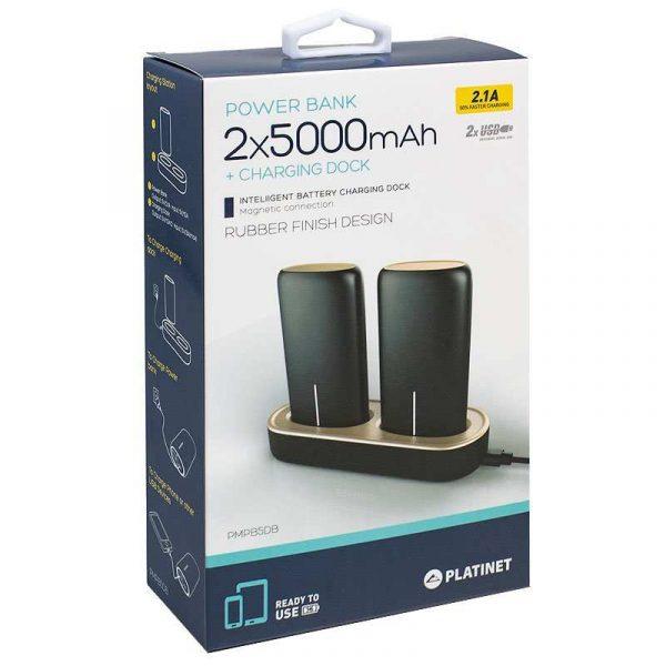 Bateria Externa Micro-usb Power Bank 5000 mAh x2 uds + (Estación de Carga Magnética) Platinet 3