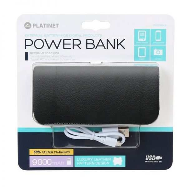 Bateria Externa Micro-usb Power Bank 9000 mAh Platinet Polipiel Negra 2