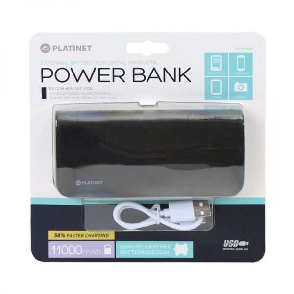 Bateria Externa Universal Power Bank 11.000 mAh Platinet Polipiel Negra 2