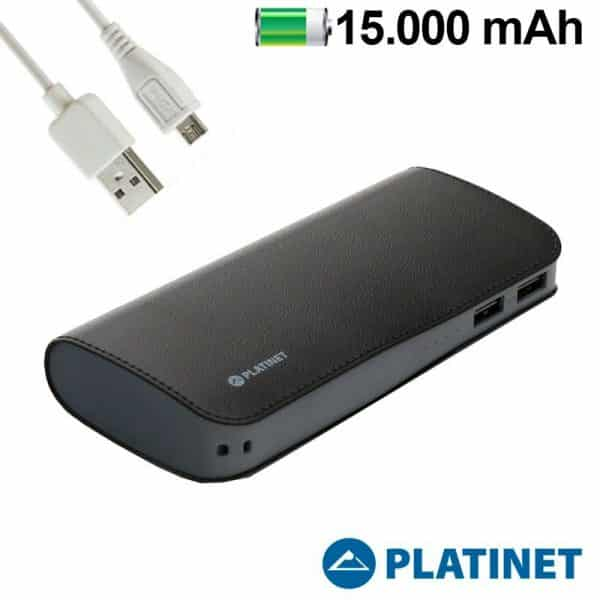 Bateria Externa Universal Power Bank 15.000 mAh Platinet Polipiel Negra 1