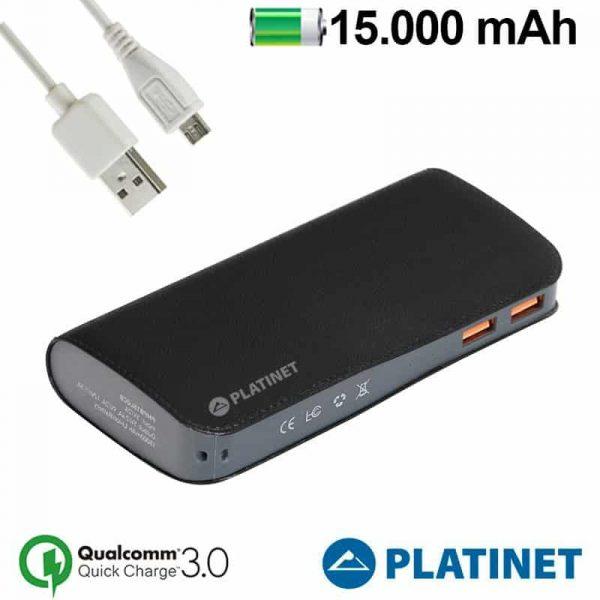 Bateria Externa Universal Power Bank 15.000 mAh Platinet Qualcomm 2 x usb (Carga Rápida) 1