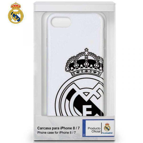carcasa iphone 7 iphone 8 licencia futbol real madrid blanca escudo 1