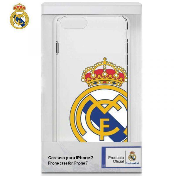 carcasa iphone 7 iphone 8 licencia futbol real madrid transparente escudo