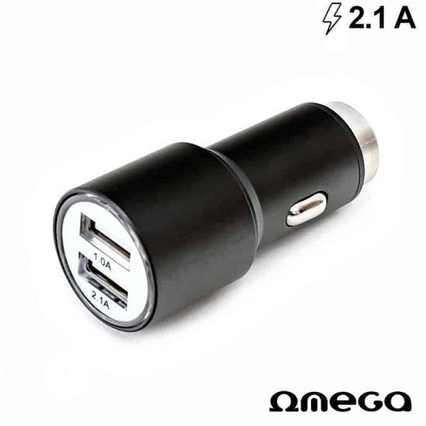 Cargador Coche Universal Doble Entrada Usb Metálico 2 x usb Omega 2.1 Amp Negro 1