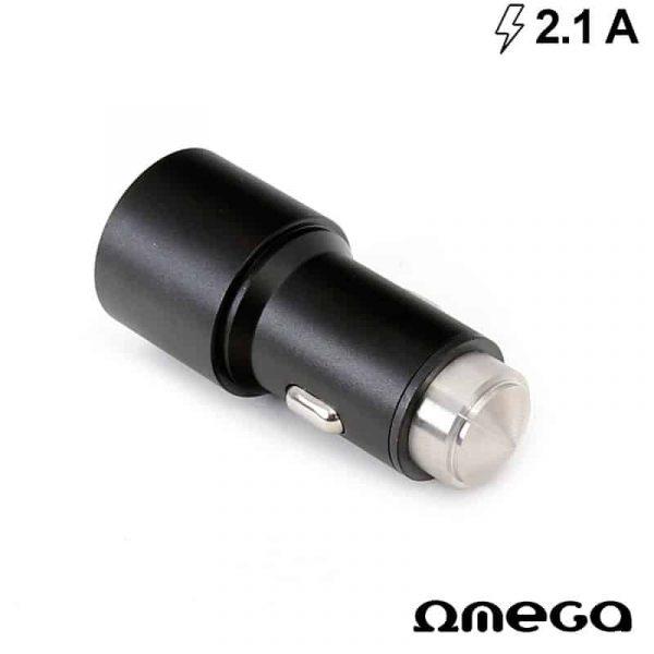 Cargador Coche Universal Doble Entrada Usb Metálico 2 x usb Omega 2.1 Amp Negro 2