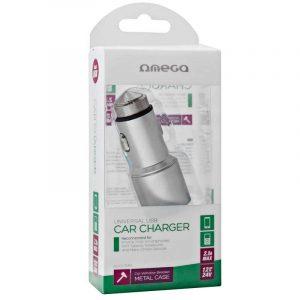 Cargador Coche Universal Doble Entrada Usb Metálico 2 x usb Omega 2.1 Amp Plata 5