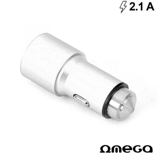 Cargador Coche Universal Doble Entrada Usb Metálico 2 x usb Omega 2.1 Amp Plata 2