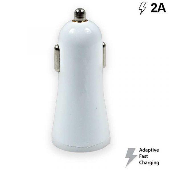 Cargador Coche Universal Entrada Usb 2Amp (Carga Rápida) Blanco 2