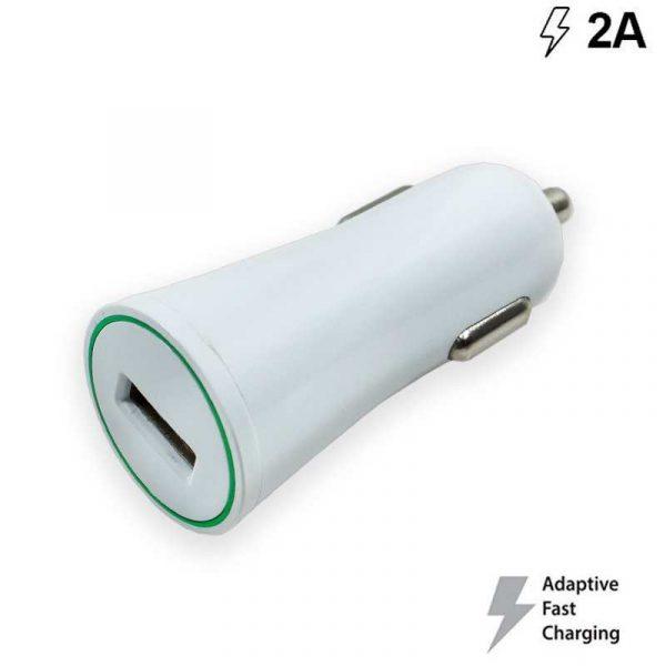 Cargador Coche Universal Entrada Usb 2Amp (Carga Rápida) Blanco 1