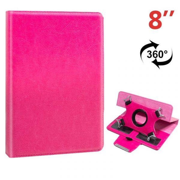 funda ebook tablet 8 pulgadas liso rosa giratoria 2