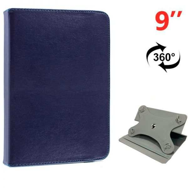 funda ebook tablet 9 pulg liso azul giratoria