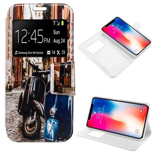 funda flip cover iphone x iphone xs dibujos moto