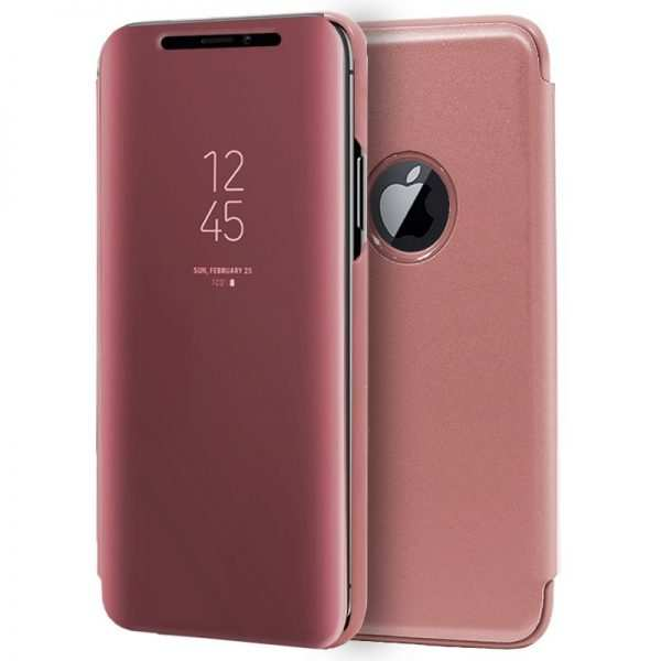 funda flip cover iphone xs max clear view rosa 1