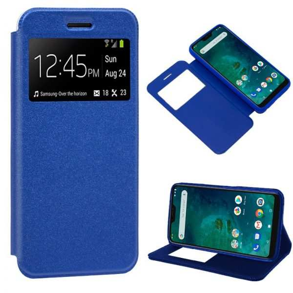 Funda Flip Cover Xiaomi Mi A2 Lite / 6 Pro Liso Azul 1