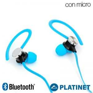 Funda Neopreno Running + Auriculares Universal Platinet Bluetooth Stereo Azul 3