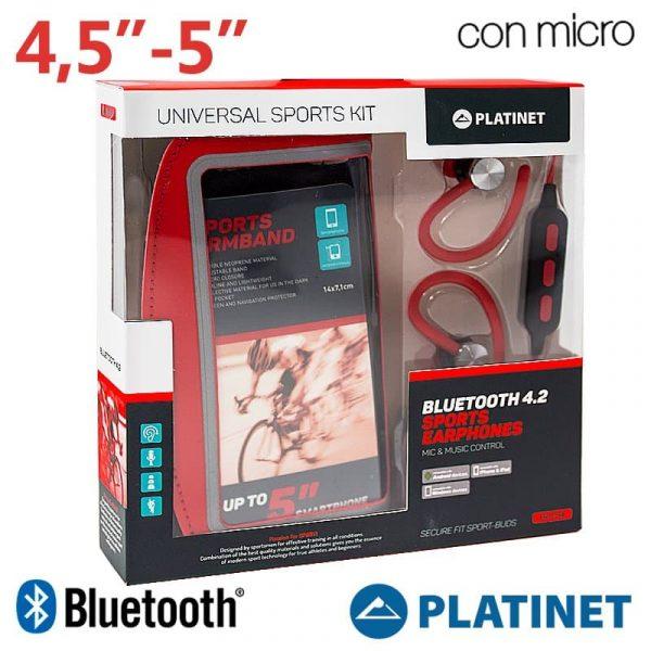 Funda Neopreno Running + Auriculares Universal Platinet Bluetooth Stereo Rojo 1