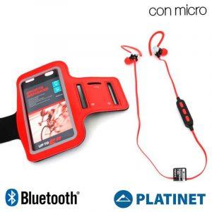 Funda Neopreno Running + Auriculares Universal Platinet Bluetooth Stereo Rojo 3