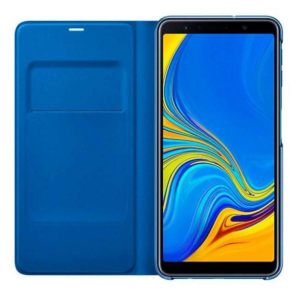 funda original samsung a750 galaxy a7 wallet cover azul con blister