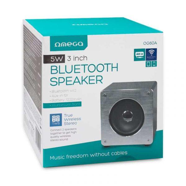 Altavoz Música Universal Bluetooth Marca Omega Cuadrado Plata (5W) 4