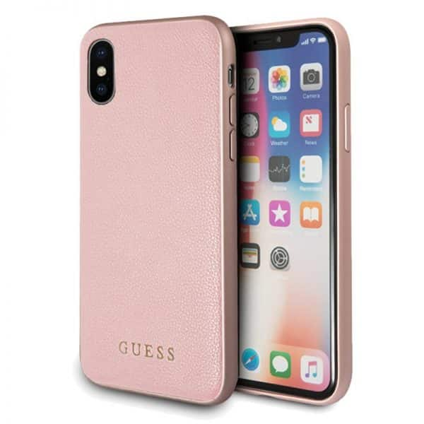 Carcasa iPhone X / iPhone XS Licencia Guess Leather Rosa 1