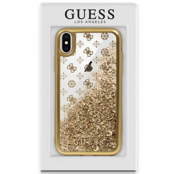 Carcasa iPhone X / iPhone XS Licencia Guess Liquid Dorado 2