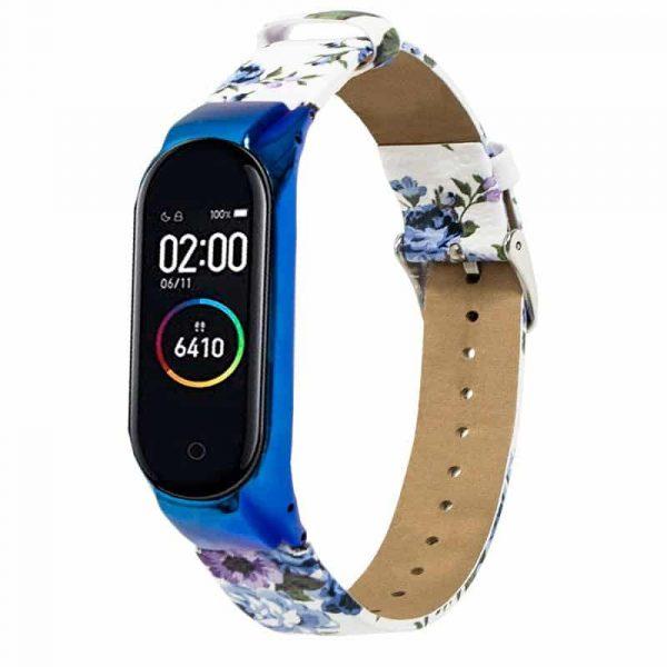 Correa Xiaomi Mi Band 3 / Mi Band 4 Piel Estampado Flores Azul + Carcasa Metálica 1
