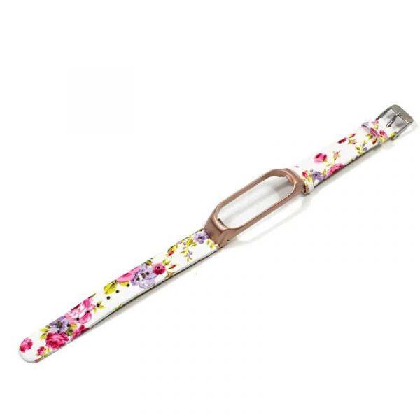 correa xiaomi mi band 3 mi band 4 piel estampado flores rosa carcasa metalica3