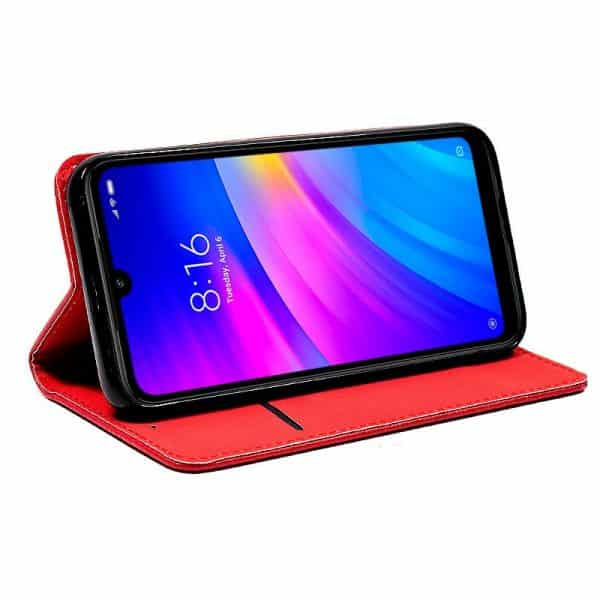 Funda Con Tapa Xiaomi Redmi 7 Liso Rojo 2