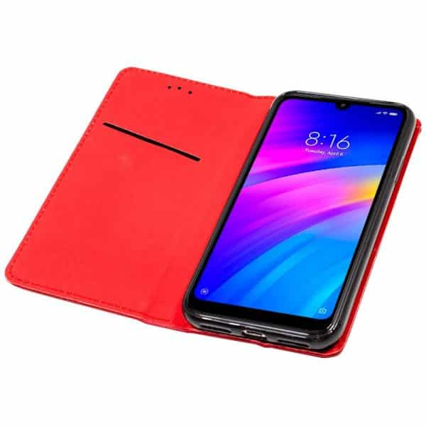 Funda Con Tapa Xiaomi Redmi 7 Liso Rojo 3