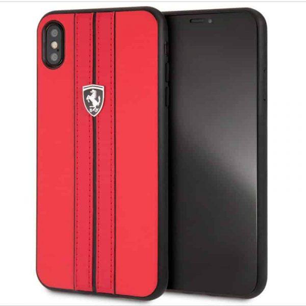carcasa iphone xs max licencia ferrari piel rojo1