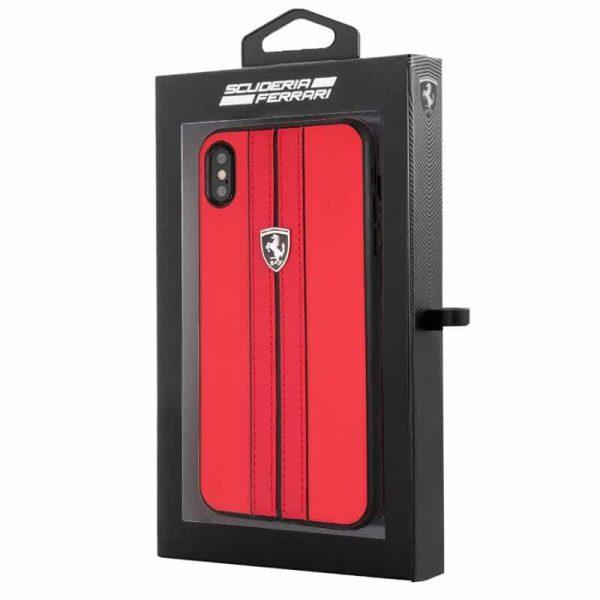 carcasa iphone xs max licencia ferrari piel rojo2