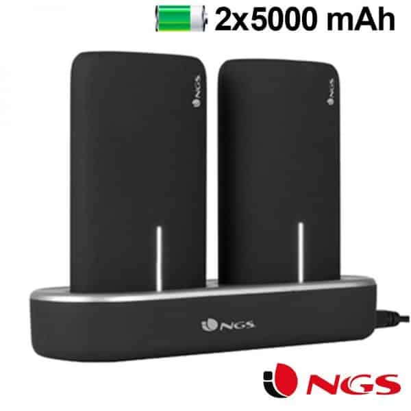 Bateria Externa Micro-usb Power Bank 5000 mAh x2 uds + (Estación de Carga Magnética) NGS 1