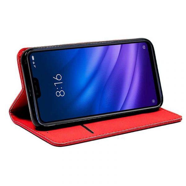 Funda Con Tapa Xiaomi Mi 8 Lite Liso Rojo 3