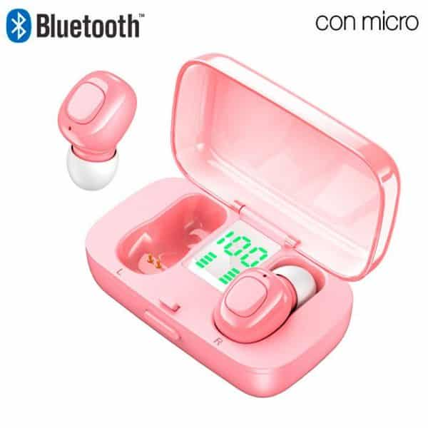 auriculares stereo bluetooth dual pod earbuds cool display rosa1