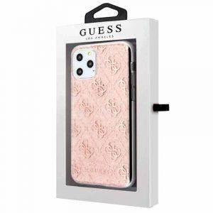 carcasa iphone 11 pro max licencia guess glitter logos rosa2