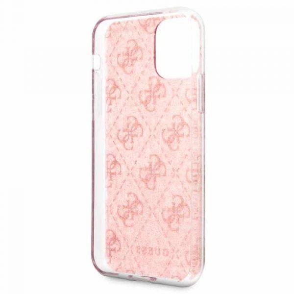 carcasa iphone 11 pro max licencia guess glitter logos rosa3
