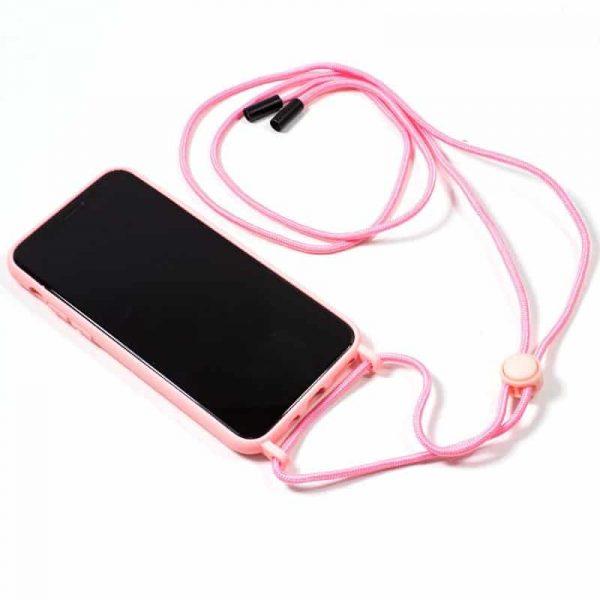carcasa iphone x iphone xs cordon liso rosa 2