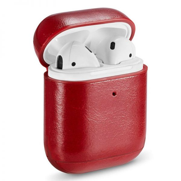 funda soft apple airpods leather rojo 1