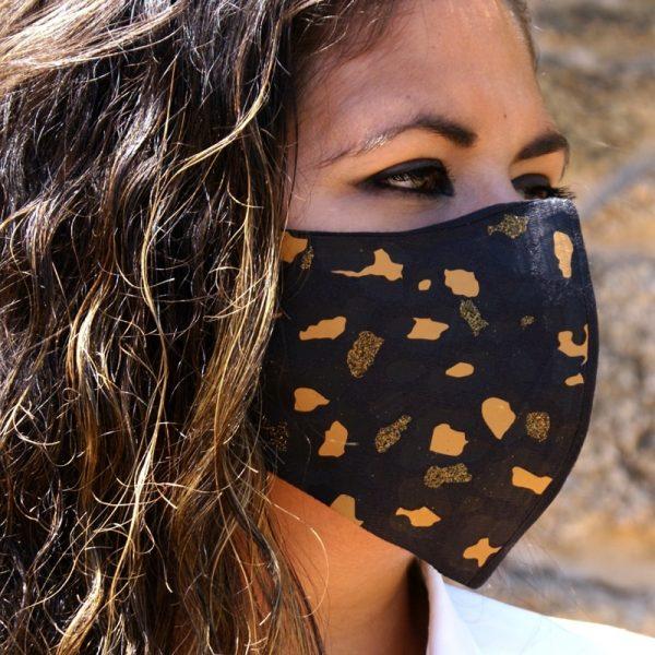 mascarilla negra leopardo amarllo dorado glitter 2