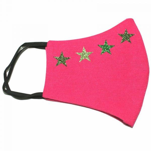 mascarilla rosa 4 estrellas glitter verde 1
