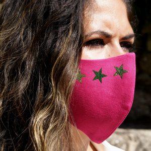 mascarilla rosa 4 estrellas glitter verde 2