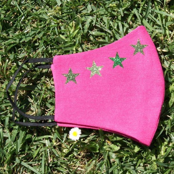 mascarilla rosa 4 estrellas glitter verde 3