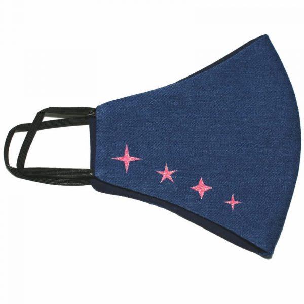 mascarilla vaquera 4 estrellas glitter rosa 1