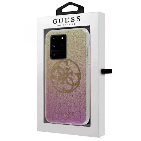 carcasa samsung galaxy s20 ultra 5g licencia guess glitter rosa y dorado 2
