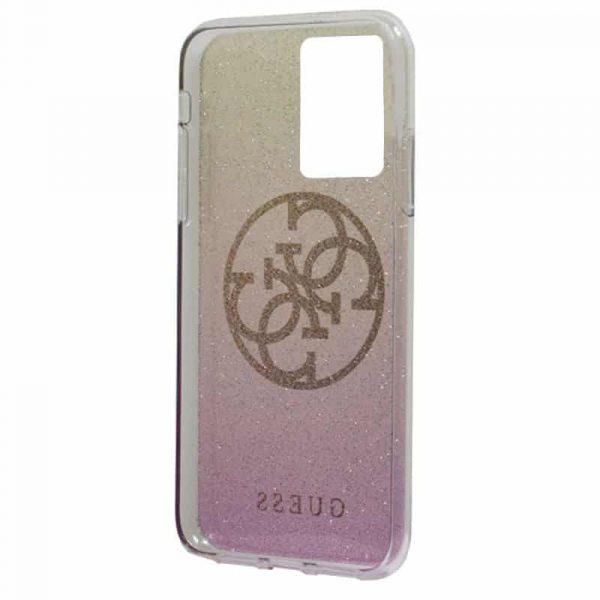 carcasa samsung galaxy s20 ultra 5g licencia guess glitter rosa y dorado 3