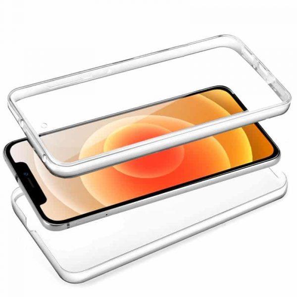funda silicona 3d iphone 12 mini transparente frontal trasera 2