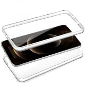 funda silicona 3d iphone 12 pro max transparente frontal trasera 2